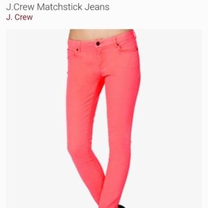 J. CREW Matchstick Jeans size 28 neon pink